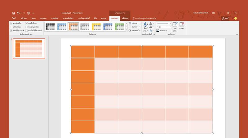 วิธีเพิ่มแถบสีของคอลัมน์ตารางใน PowerPoint